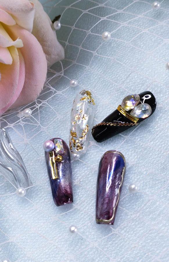 水波纹紫色迷情美甲